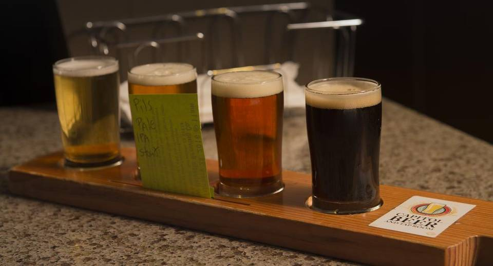 A sample platter of pilsner, pale ale, ipa, and stout are ready to be picked up at the Capitol Beer & Taproom , on February 16, 2016, known as one of the best places to find exciting and ever-changing beer lists in Sacramento. Jose Luis Villegas jvillegas@sacbee.com